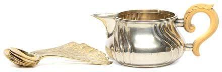 奧地利維也納  JOSEF CARL KLINKOSCH 銀奶壺、銀鍍金匙七件