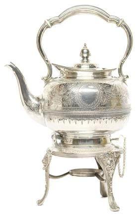 英國 鍍銀刻花壺連加熱座一套二件