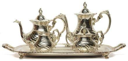 英國 鍍銀花卉茶具一套四件 (附鍍銀盤)