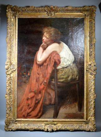 "C G Hardy: Oil on Canvas, ""Tired Out"" 1883"