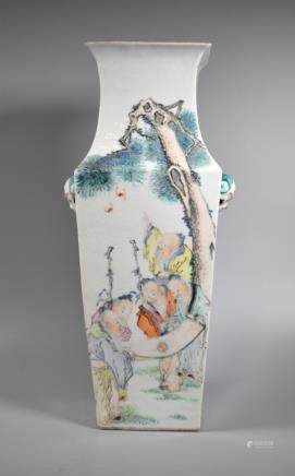 Chinese 19 C Artist Painted Porcelain 4 Sided Vase