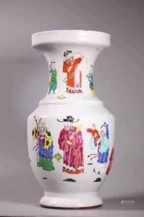 Chinese Qing Dynasty Porcelain Fu Lu Shou Vase