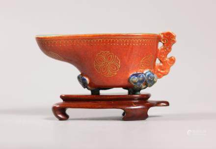 Chinese 18/19 C Enameled Porcelain Libation Cup
