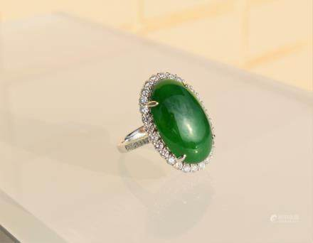 large intense green Jadeite Jade diamond ring