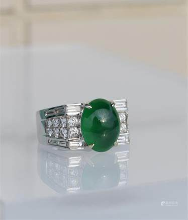 topquality glassy vivid green Jadeite diamond ring