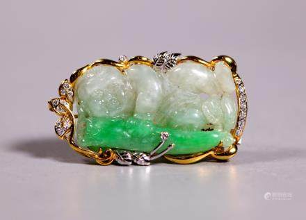 Chinese Carved Jadeite Pendant, 18K Gold Diamonds
