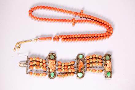 Chinese Coral Beads, 3 Plaques Silver Gold Jadeite