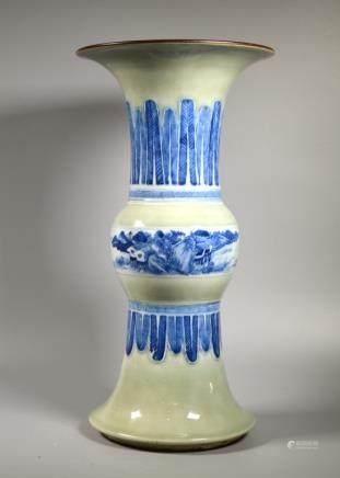 Chinese 18/19 C Celadon & B & W Porcelain Gu Vase