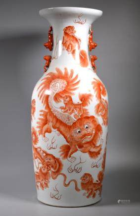 Lg Chinese 19 C Nine Lions Iron Red Porcelain Vase