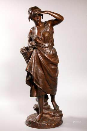 E Laurent; la Pecheuse Patinated Bronze Sculpture