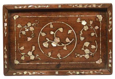 黃花梨木鑲螺鈿花卉茶盤