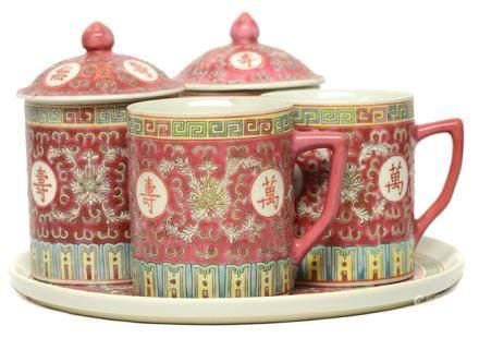 粉彩'萬壽無疆'耳杯連茶盤一套五件