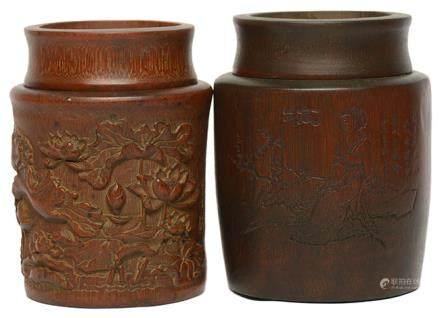 竹茶葉罐二件