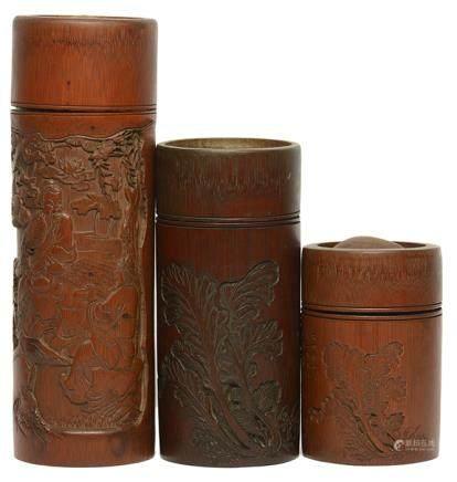 竹茶葉罐三件