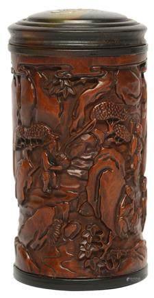 黃楊木牧牛圖茶葉罐