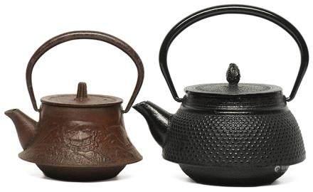 日本 鐵山水富士形壺 連日本 南部乳釘紋壺 (共2件)