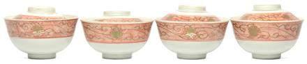 日本 珊瑚紅描金葉子茶盅一套四件