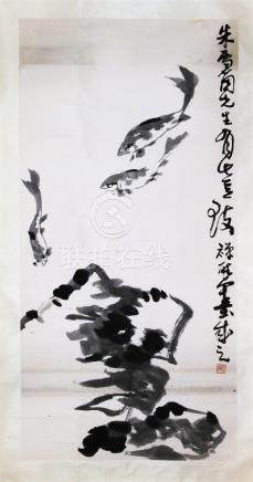 CHINESE SCROLL PAINTING OF FISH