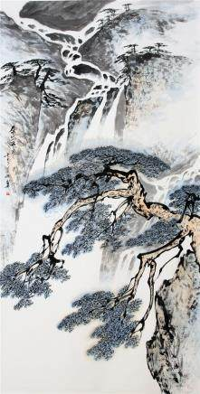 CHINESE SCROLL PAINTING OF WATER FALLS