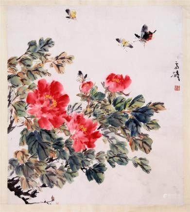 CHINESE SCROLL PAINTING OF BUTTTERFLY AND FLOWER