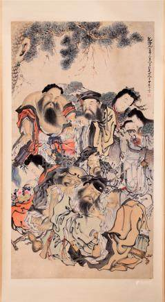 CHINESE SCROLL PAINTING OF FIGURES UNDER TREE
