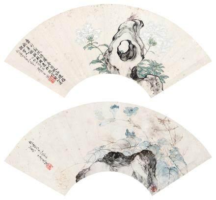 居巢 花卉 扇面 (二幅) 镜架 设色纸本