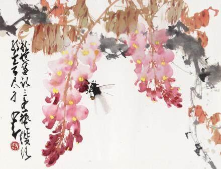 赵少昂 紫藤蜜蜂 镜架 设色纸本