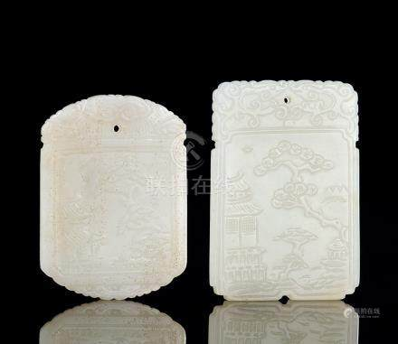 清 白玉山水篆印文牌 (二件)