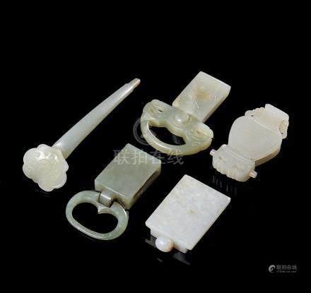 清 白玉提携、带扣、发簪 (共五件)