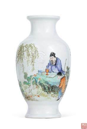 民国 粉彩「羲之爱鹅」题诗瓶