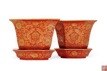 民国 珊瑚红地描金寿纹八角花盆 (一对)