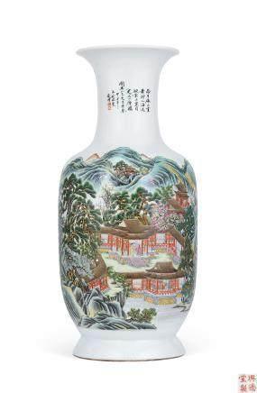 民国 粉彩通景山水纹瓶