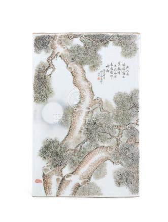 民国 浅绛彩苍松图题诗瓷板