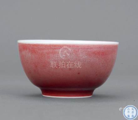 清雍正 红釉杯