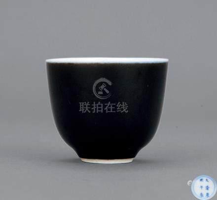清康熙 乌金釉小杯