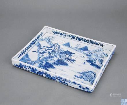 清嘉庆 青花山水茶盘