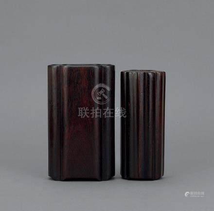 清 紫檀海棠式笔筒 连香插