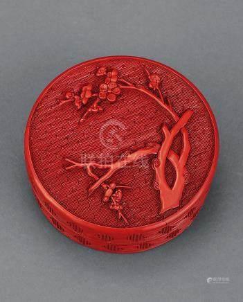 明万历 剔红花纹梅香盒