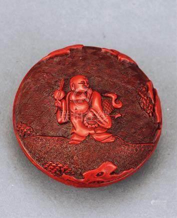 明 剔红弥勒香盒