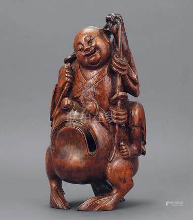 18世纪 竹雕刘海戏蟾蜍摆件