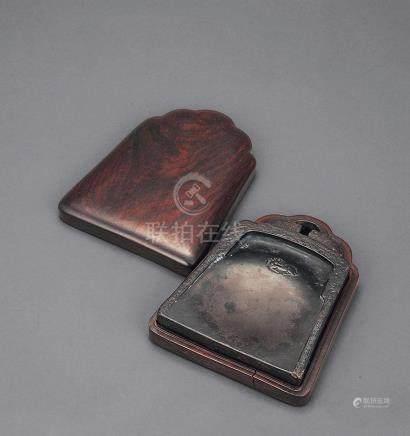 清中期 端石浮雕卧鹿金钟砚 连盖盒