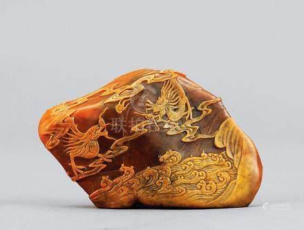 林寿煁作 田黄双龙戏珠摆件