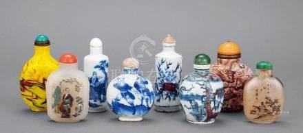 清 青花、玉石、玻璃内绘等各式烟壶 (一组八件)