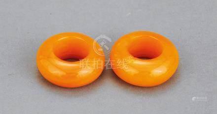 清 宫廷蜜蜡环 (一对)