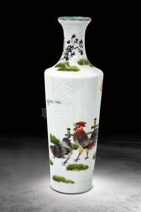 民國 粉彩德禽圖瓶