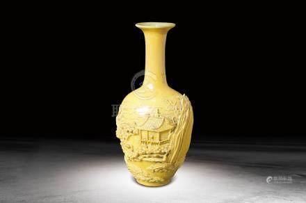 清 黃釉雕瓷山水紋瓶