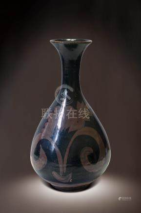 黑釉花卉紋玉壺春瓶