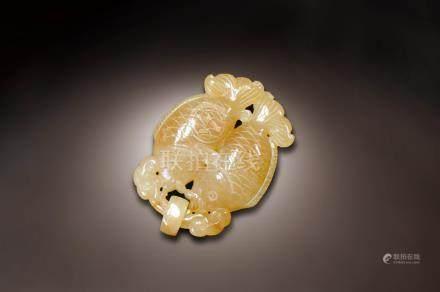 黃翡雙魚墜