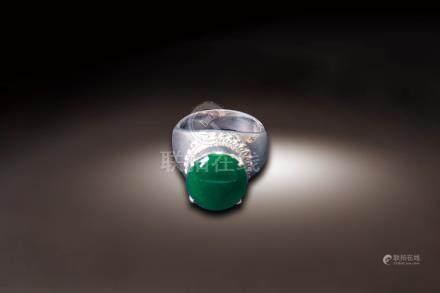 銀台鑲翡翠蛋面指環