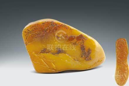 清 壽山杜陵石雕山水紋薄意隨形印章